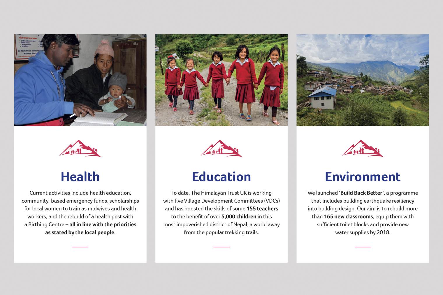Example of the three areas for Himalayan trust website